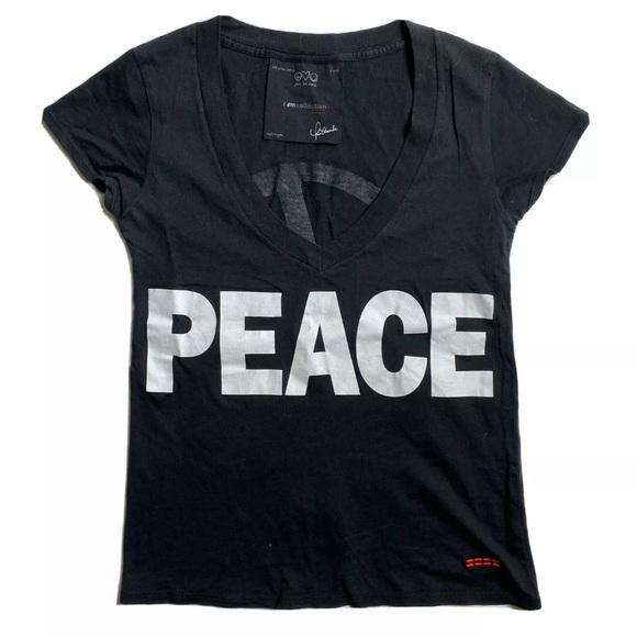 Peace Love World Sign T-Shirt Tee Hippie Festival